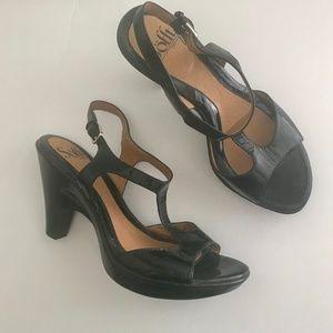 Sofft Black Patent Leather Platform Sandal